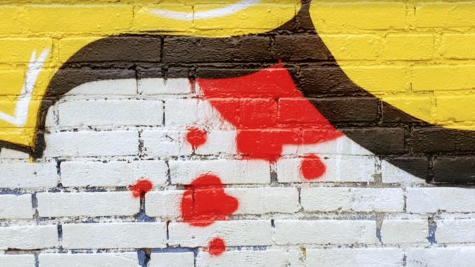 graffitti abstract met geel, zwart, rood en wit