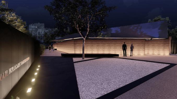 Nationaal Holocaust monument bij nacht - artist impression